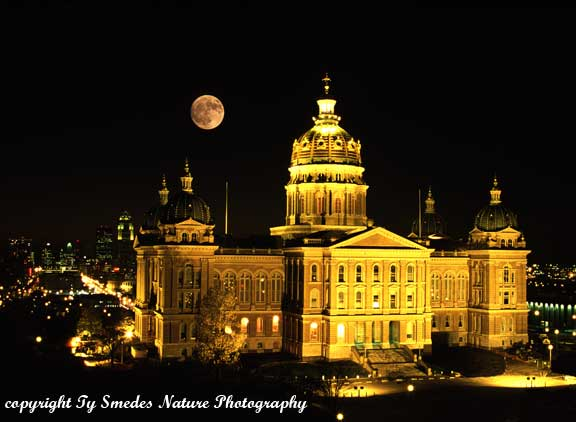 Iowa State Capitol with full moon