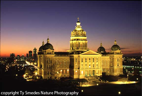 Iowa State Capitol after Sunset