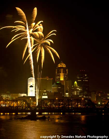 Des Moines Skyline and Fireworks