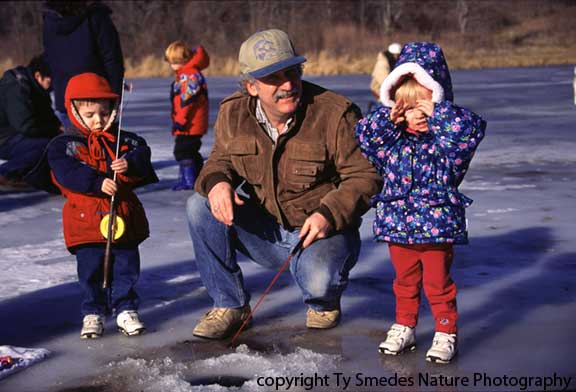 Ice Fishing at Ft. Des Moines Park, Des Moines Iowa